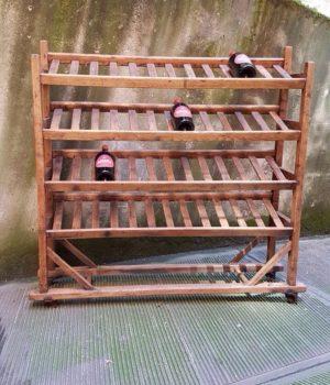 Carrello legno con ripiani inclinati