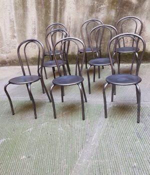 Set di sedie Trattoria sverniciate, sedute ferro