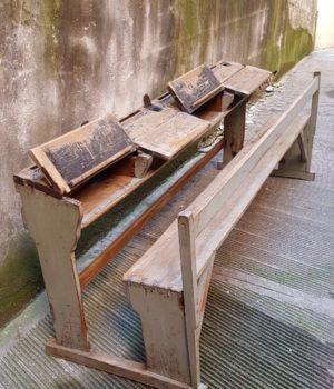 Antico Banco in legno 4 posti, banchetto, scrivania