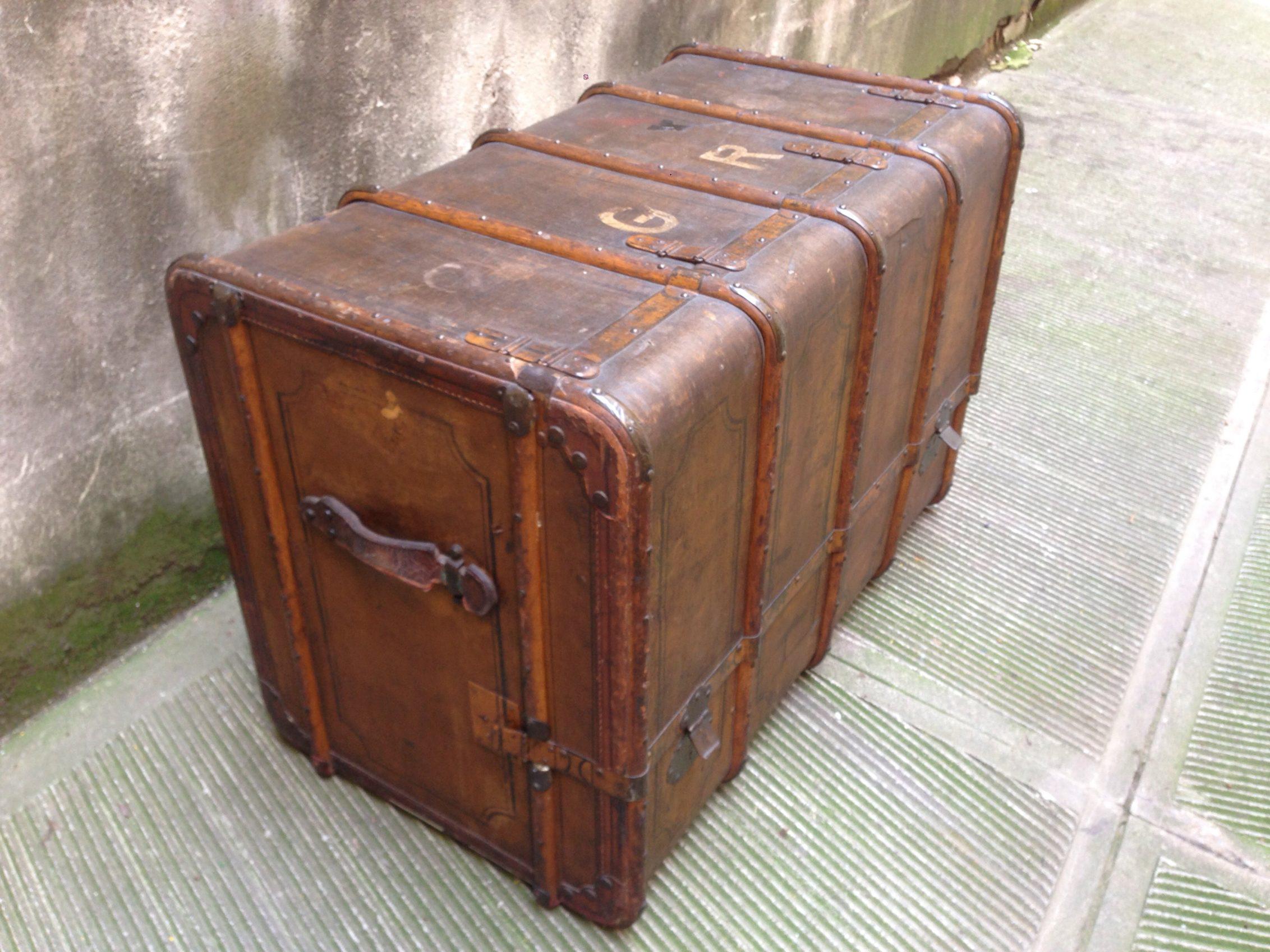 Antico Baule Da Viaggio Cassettiera Neoretro