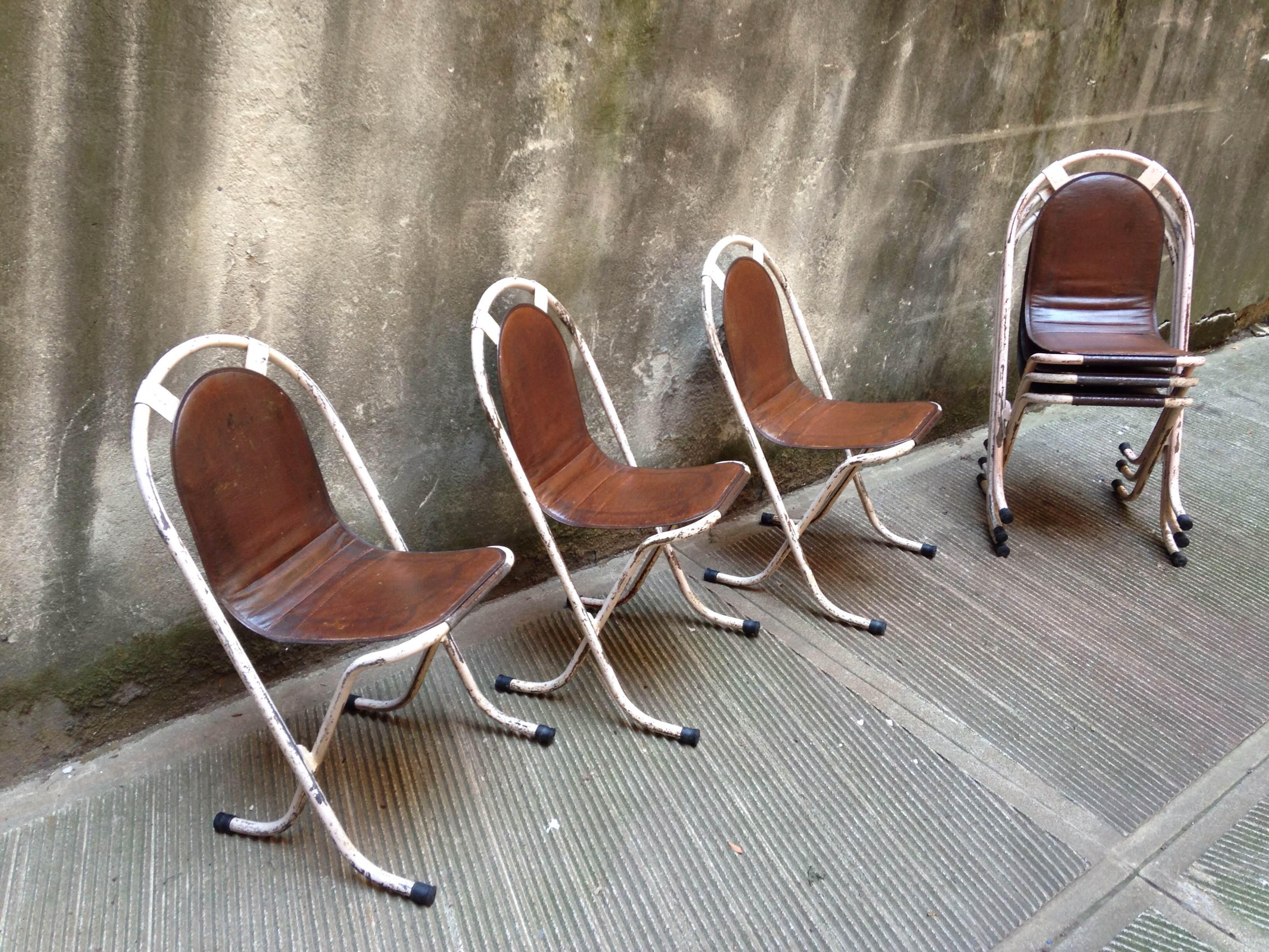 Sedie Vintage Pelle : Sedie stak a bye inglesi in pelle e ferro neoretrò
