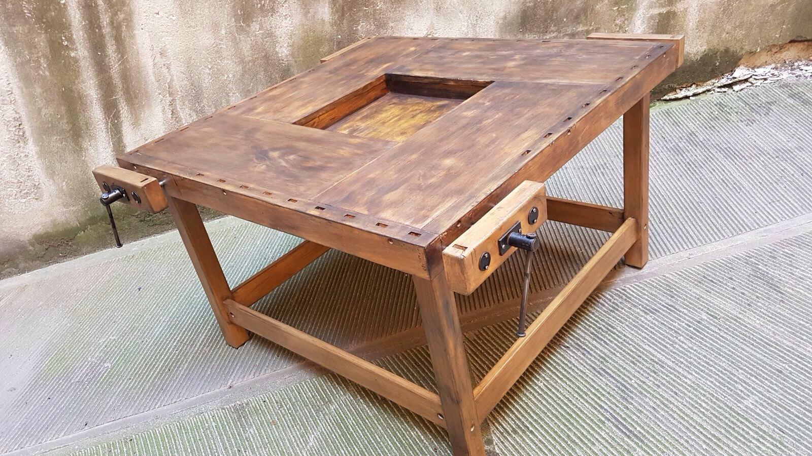 Tavolo Industriale Quadrato : Tavolo banco da falegname neoretrò