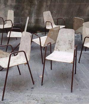 Sedie da cinema estivo in ferro, sedie industrial