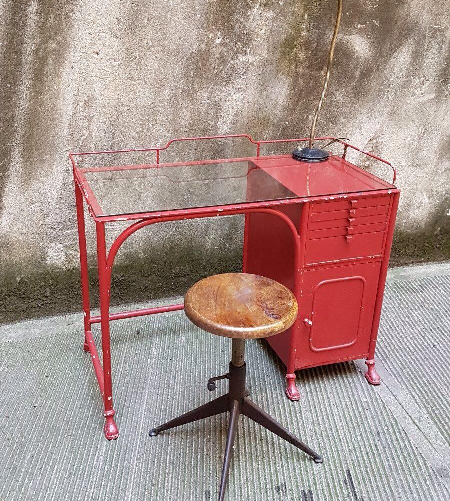 Scrivania Studio medicale primi 900, scrivania in ferro e vetro