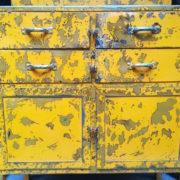 Mobile da Officina in patina, tavolo da lavoro, cassettiera industriale