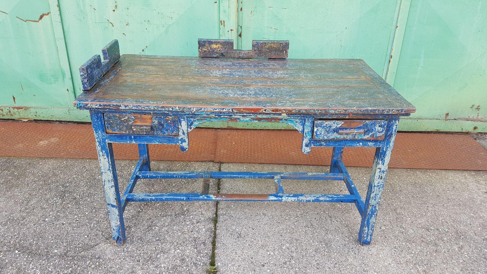 Scrivania Vintage Legno : Tavolo scrivania legno in patina neoretrò
