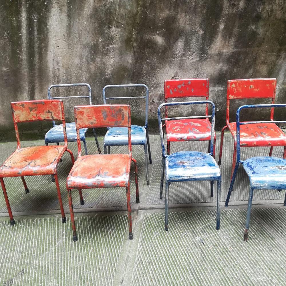 Sedie ferro patinate Vecchia Osteria, vintage metal chairs