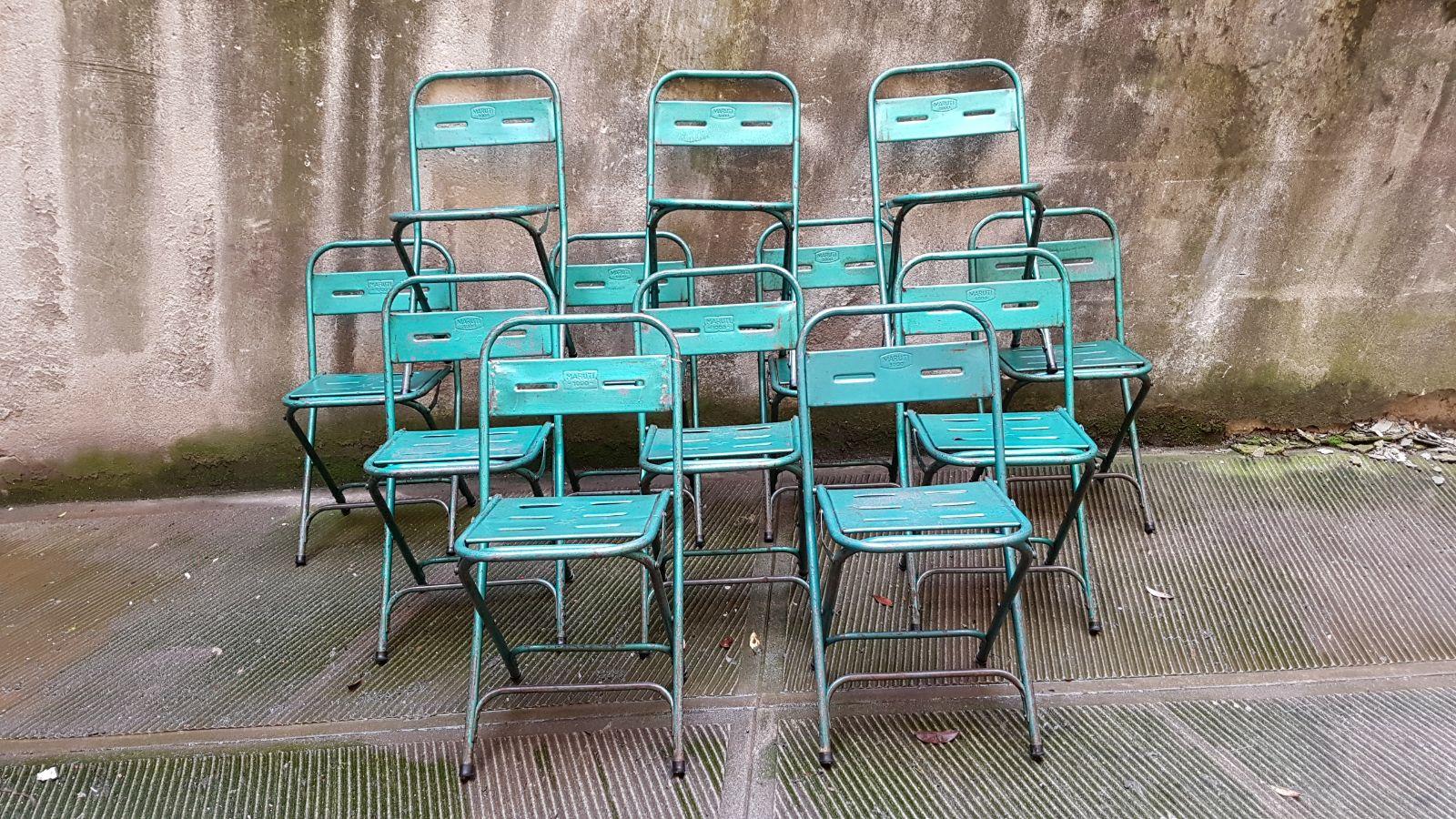 Sedie In Ferro Vintage.Sedie Ferro Anni 50 Verdi Neoretro