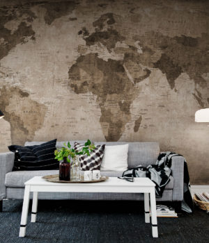 Brown World Map_Rebel Wall