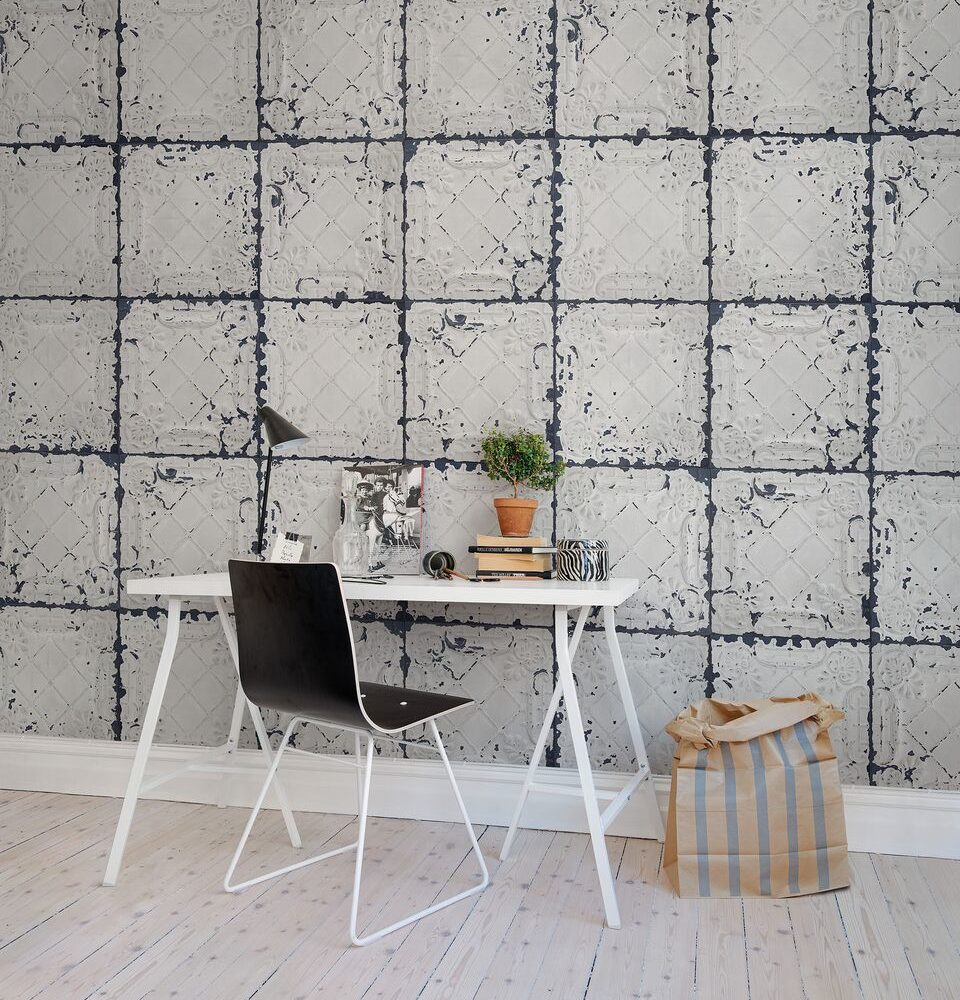 Tin Plates, Nebraska (white) Wallpaper