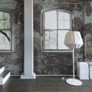 Vintage Wall with Big Windows Wallpaper